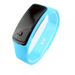 Casual Wristwatch Candy Color Sport LED Watch  Silicone Rubber Touch Screen Digital Watches ligh blue