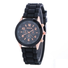 Geneva Casual Watch Women Dress Watch Quartz Military men Silicone watches Unisex Wristwatch black