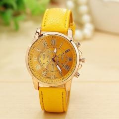 Geneva Roman Numerals Leather Quartz Watch Ladies Dress Wristwatch Relogio Feminino Clock yellow