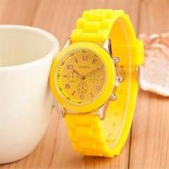 Geneva Casual Watch Women Dress Watch Quartz Military men Silicone watches Unisex Wristwatch yellow