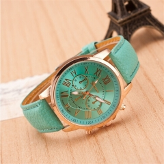 Geneva Roman Numerals Leather Quartz Watch Ladies Dress Wristwatch Relogio Feminino Clock ligh green
