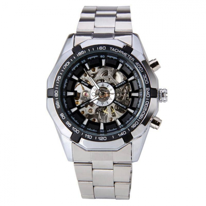 Fashion Men Business Round Dial Stainless Steel Strap Quartz Wrist Watch Gift black