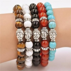 NEW MEN'S MATTE AGATE SILVER BUDDHA HEAD BEADS LUCKLY BRACELET 7.5