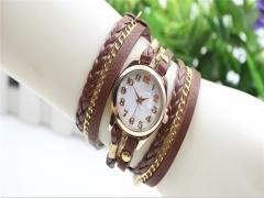 Women Vintage Bronze Bracelet Quartz Wrist Watches Retro Exquisite Rivet SP Coffee