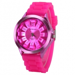 NEW Silicone Sunflower Shaped Dial Quartz Analog Sport Wrist Watch Unisex PV Roser Red