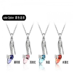 High Quality Trendy Plated Crystal Cinderella Glass Slipper Pendant Necklace IW As Pic 1 One size