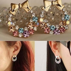 Chic Jewelry Women Colorful Crystal Rhinestone Gold Bowknot Stud Earrings A One size