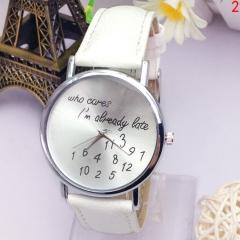 Ladies Who Cares I'm Already Late Stainless Steel Quartz Watch Colour Choice GG White