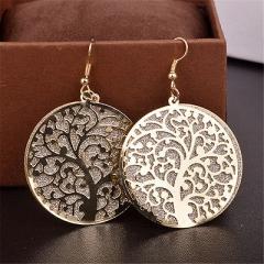 Hot Sale Alloy Round Dangle Tree Of Life Tribal Earrings 925 Sterling Hooks Xv Black One size