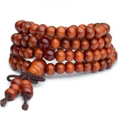 Sandalwood Buddhist Buddha Meditation 108 Prayer Bead Mala Bracelet Qecklace6mmQ As Pic 1 One size