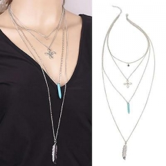 Europe Jewelry Multilayer Long Flower Statement Necklaces Pendants AS Picture One size