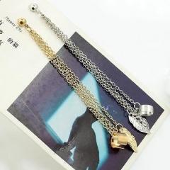 Polished Leaf Ear Clip Drop Dangle Stud Earrings Tassel Jewelry Gift Silver One size