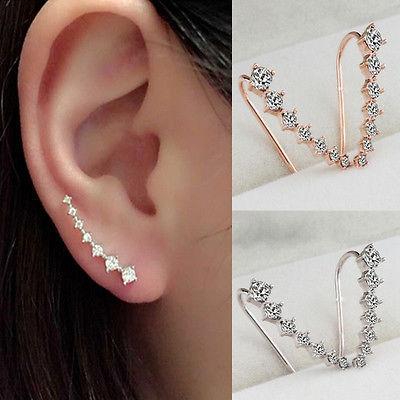 Women Zircon Crystal Ear Sweep Cuff 7 Rhinestone Earrings Hook Jewelry 1 pair B& Gold One size