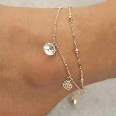 New Crystal Elegant Gold Rose Bell Charm Sexy Anklet Foot Chain Anklet BraceletW AS Picture One size
