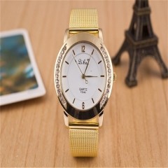 Women Fashion Crystal Rhinestone Gold Stainless Steel Mesh Wrist Watch New SZ As Picture