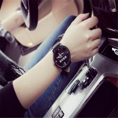 Fashion Lover Couple Women Men Big Dial pu leather Quartz Strap wrist watch CU~ Black 1