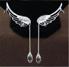 Women Angel Wing Crystal Silver Plated Earrings Drop Dangle Ear Stud Clip S: AS Picture One size