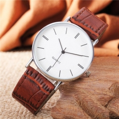 New Simple Korean Watch Students' Lovers Quartz Watch Retro Wrist Watches Round Brown B