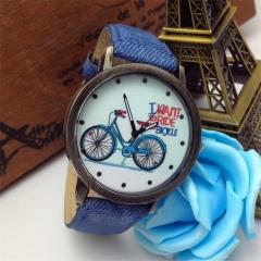 Women Men Unisex Watches Leather Band Letters Analog Quartz Sport Wrist Watch EC Deep Blue