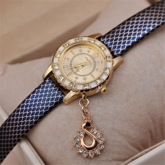 Quartz Casual Rhinestone Swan Pendant PU Leather Band Women Watch 5 color SoftSH Blue