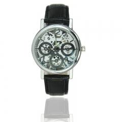 New Luxury Fashion PU Leather Band Skeleton Hollow Dial Mens Wrist Watch   Black