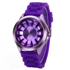 NEW Silicone Sunflower Shaped Dial Quartz Analog Sport Wrist Watch Unisex PV Purple
