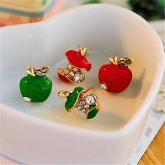 2 color fun Fashion eardrop Mini apple earring earrings Dangle funny new cool ES Green One size