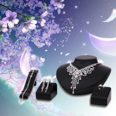 Hot Prom Wedding Bridal Party Crystal Rhinestone Necklace Earring Jewelry Set ES AS Picture One size