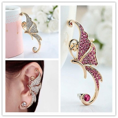 1pc Women Charming Crystal Full Rhinestone Butterfly Elf Ear Cuff Clip EarringGP Pink One size