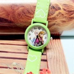 Cute Cartoon Child Kids Unisex Sports Pu Leather Strap Quartz Wrist Watch y0 Green