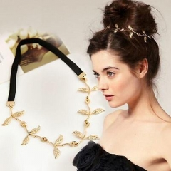 Olive Leaves Grecian Greenland Head Hair Elastic Band Headband Gold Fashion LY AS Picture One size