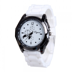 Newest Cute Women Men Silicone Band Quartz Sport Candy/Jelly Color WristWatch RR White