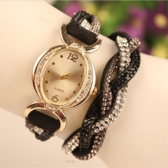 8 Colors Crystal Quartz Alloy Watch Band Stainless Steel CaseWomenWrist Watch NI Black