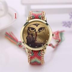 Vintage Owl colourful weaving Braided Strap Rope bracelet Quartz Wrist Watch V As Pic 1
