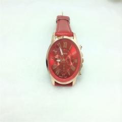Women Fashion Bracelet Roman Numerals Watch PU Leather Analog Quartz WristwatchQ Red