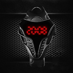 LED Digital Mens Watches Silicone Cobra Iron Triangle Dial Sport Wristwatch #ASH As Picture