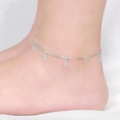 Handmade 925 Solid Sterling Silver Charms Chain Anklet Beach Foot Jewelry 1Pcs P AS Picture One size