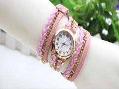 Women Vintage Bronze Bracelet Quartz Wrist Watches Retro Exquisite Rivet SP Pink