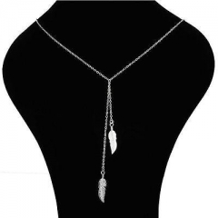 Fashion Leaf Pendant Statement Retro Long Necklace Jewelry Gift Silver One size