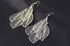 1xPair Gold/Silver Leaf Drop Dangle Earrings Costume Jewellery Hollow Leaves G^ Gold One size