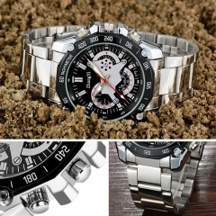 Men's Fashion Stainless Steel Belt Sport Business Quartz Watch Wristwatches Pf Black