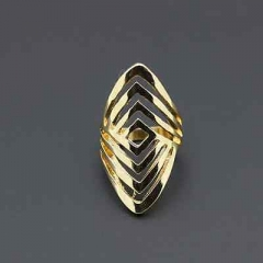 Vintage Punk Celebrity Geometric Golden Hollow Out Long Finger Ring Wedding Sq AS Picture One size