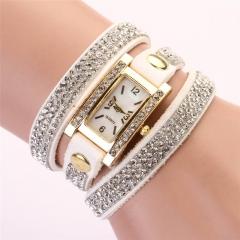Unisex Retro QuarCU Bracelet Watch Wrist Watch with PU Leather Strap &Crystal CU White