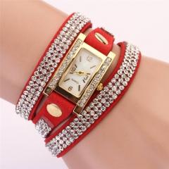 Unisex Retro QuarCU Bracelet Watch Wrist Watch with PU Leather Strap &Crystal CU Red