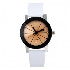 NEW FASHION Luxury Unisex Quartz Analog Watch Leather Belt Radial quartz Watch  As Pic 4