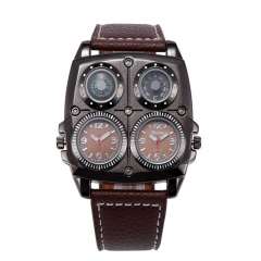 Cool 2-Movt Dial compass sport mens quartz wrist watch fashion steel dial time P As Picture
