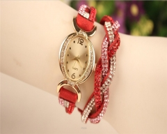 8 Colors Crystal Quartz Alloy Watch Band Stainless Steel CaseWomenWrist Watch NI Red