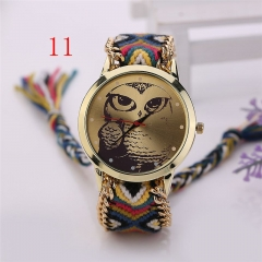 Vintage Owl colourful weaving Braided Strap Rope bracelet Quartz Wrist Watch V As Pic 8