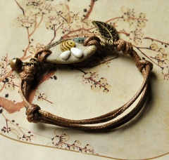Exquisite Bracelets Lace-up Leather Vintage Ethnic Ceramic Bracelet jewelry K1 AS Picture One size
