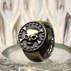Antique Vintage Metal Punk Skull Pirate Cover Elastic Finger Ring Quartz Watch W Gold